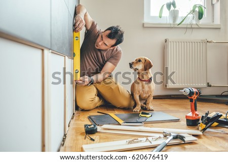 Man doing renovation work at home together with his small yellow dog Stock foto ©