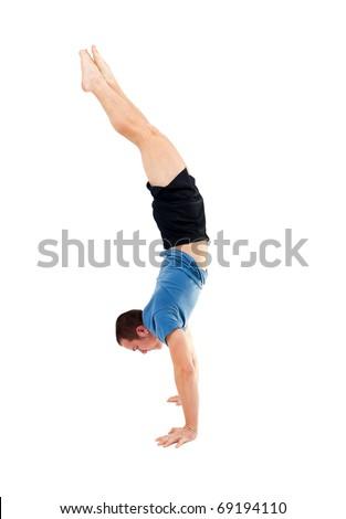 man dooing a handstand