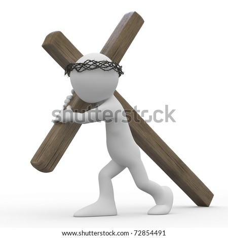 Man dragging a wooden cross with a crown of thorns in the easter week