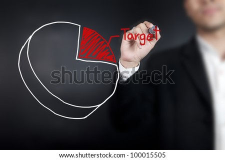 Man drawing a pie chart on whiteboard