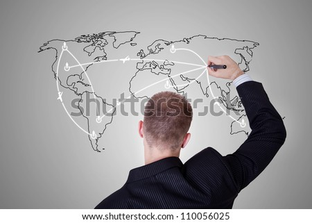 man drawing a world map