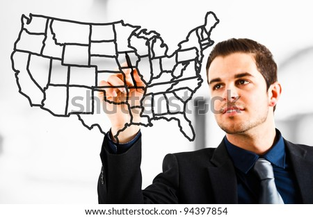 Man drawing an USA map on the screen