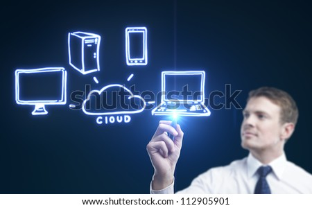 man drawing cloud computing diagram