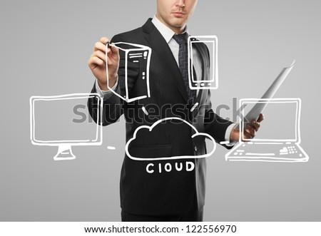 man drawing cloud computing diagram