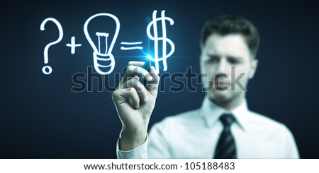 man drawing formula for making money
