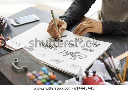 Man Drawing Illustration Pad Paper Palette Font Design Words