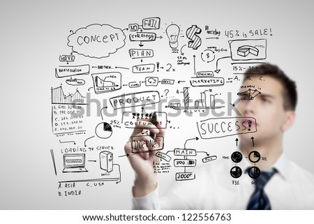 man drawing plan business concept