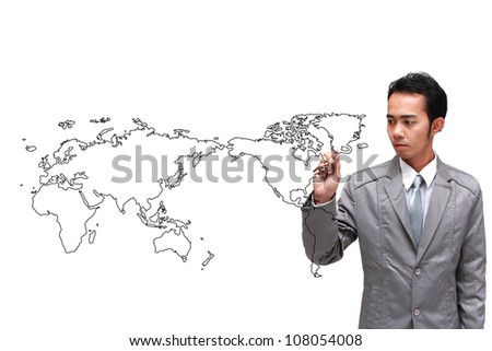 man drawing the world map in a whiteboard