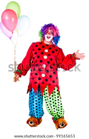 Man dressed as clown red. White background. Studio photography.