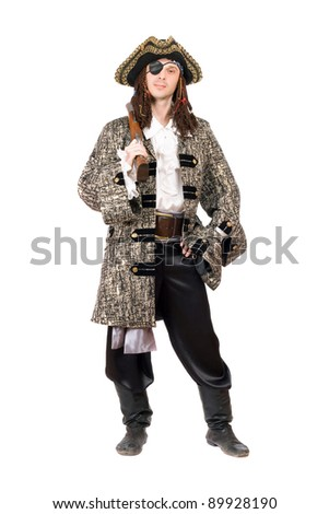 Man dressed as pirate. Isolated on white background