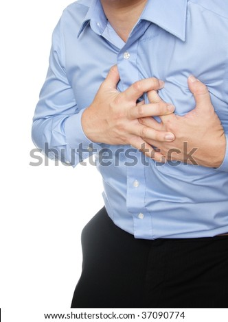 Man dressed in formal wear having a heart attack