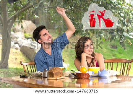 Man drestroying womans dreams about shoes at home