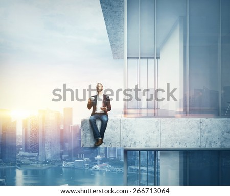 Man drinking coffee on the border of the skyscraper. 3D rendering