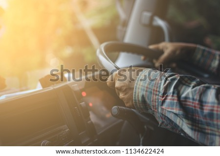 Man driver Truck. / Transportation Industry