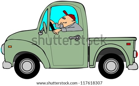 Man driving an old green truck