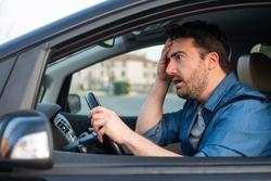 Man driving car despair after car accident