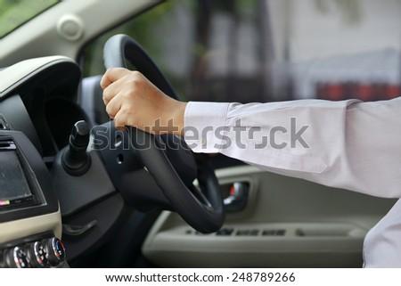 Man driving his car. Automotive concept photo