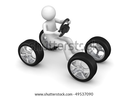 Man driving imaginary car (3d isolated on white background characters series)