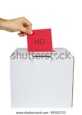 "Man dropping a ""no"" ballot into a voting box, white background."