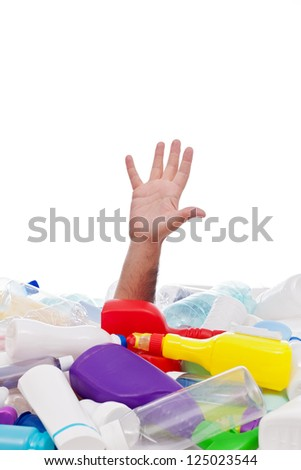 Man drowning under plastic recipients pile - stretching hand for help, environment concept