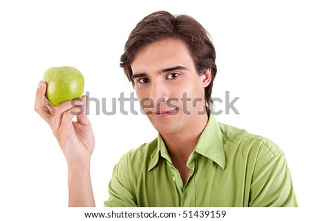 man eating a green apple, isolated on white background