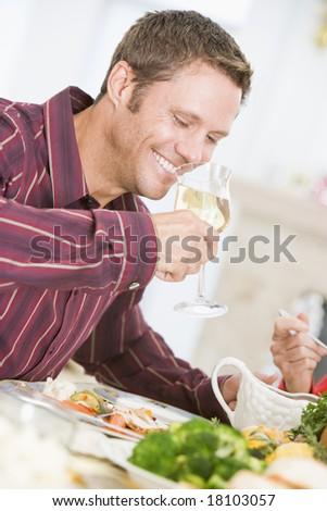 man eating christmas meal - stock photo