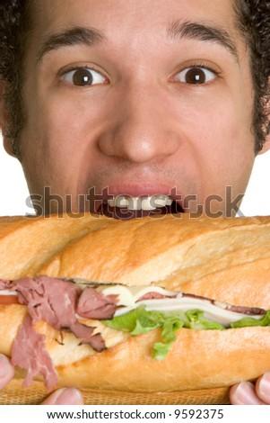 Man Eating Sandwich - stock photo