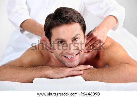 Man enjoying a back massage