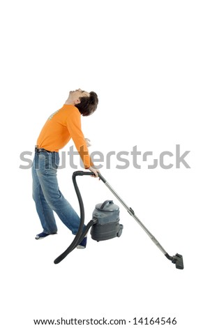 Man enjoying cleaning process. With clipping path.