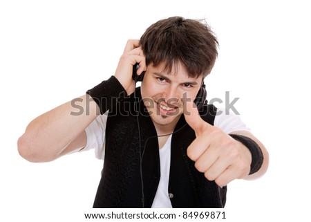 Man Enjoying Music  isolated on white