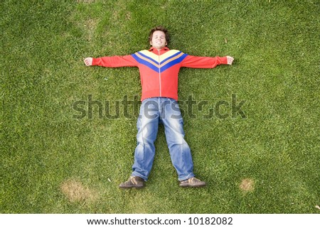 man enjoying nature (above view)