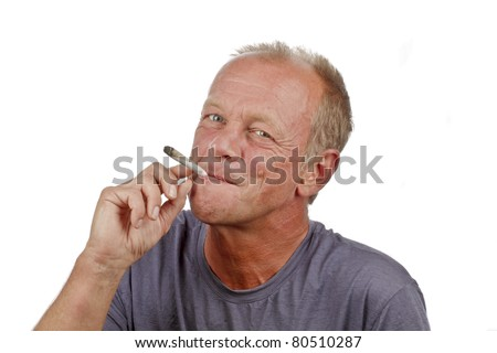 Man enjoying smoking s marijuana joint