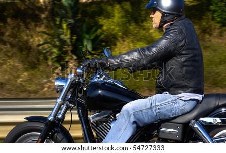 Man enjoys his Sunday afternoon ride on his motorbike