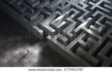 Man entering a huge mysterious maze. Business and life concept. 3D Rendering Foto d'archivio ©