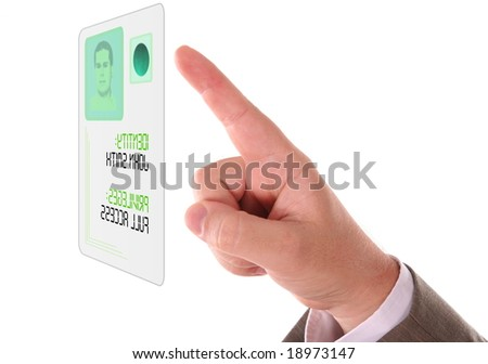 Man entering the door or secure data by touch screen