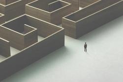 man entering wooden maze