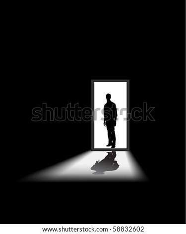 man enters a dark room, to illustrate concept of unknown and fear - halloween theme