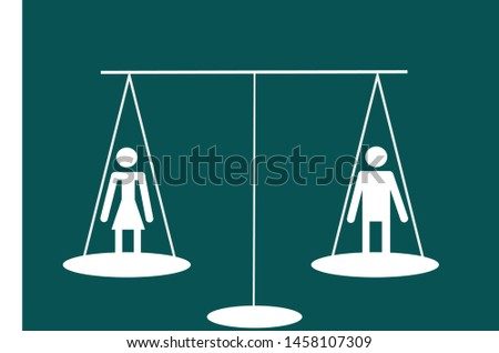 Man Equal To Woman On A Scale Gender Equality Concept Design