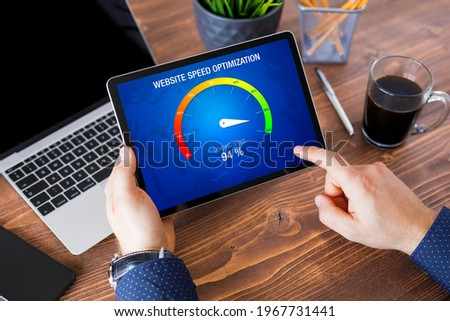 Man evaluating website loading speed, concept of page speed optimization