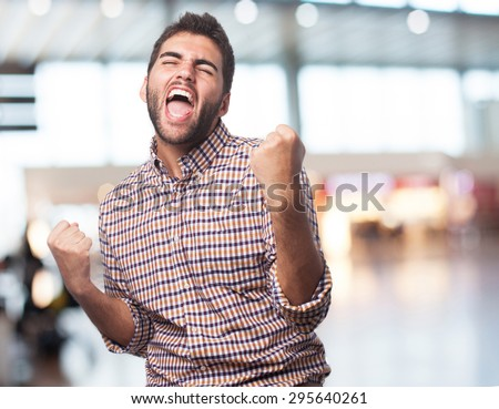 man excited isolated #295640261