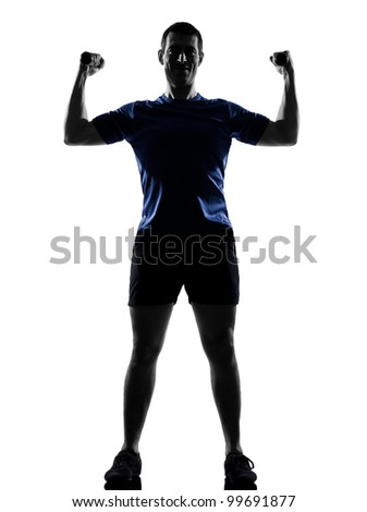 Fitness aerobics posture in silhouette studio isolated on white