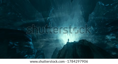 man exploring dark fantasy cave 3d illustration Stock photo ©