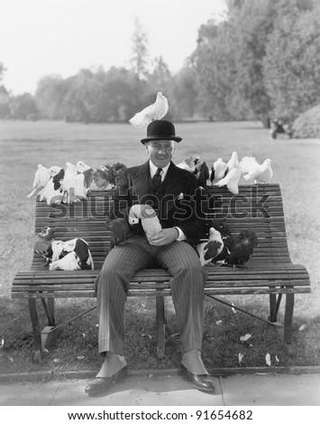 Man feeding pigeons on park bench