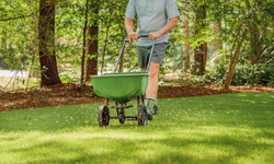 Man fertilizing and seeding residential backyard lawn with manual grass fertilizer spreader.