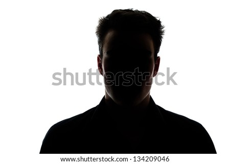 Man figure in silhouette isolated on white background #134209046