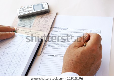 Man filling security/health clearance