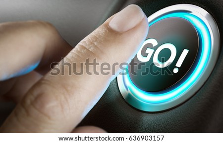 Man finger about to press an action button with the text go, black background and blue light. Composite between a photography and a 3D background. Entrepreneurship concept.