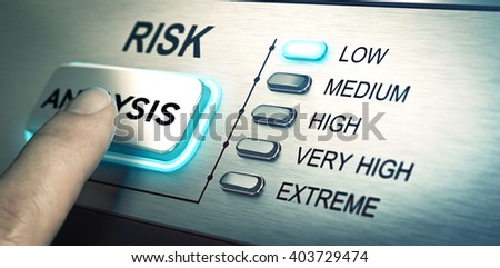 Photo of man finger about to press an analysis push button. Focus on the blue led. Concept image for illustration of risk management or assessment.