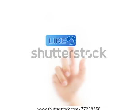 man finger pressing a like button, isolated on a white background. - stock photo