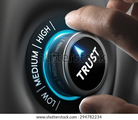 Man fingers setting trust button on highest position. Concept image for illustration of high confidence level. Foto d'archivio ©